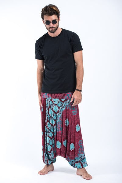 Mandala Elephants Drop Crotch Men's Harem Pants in Red