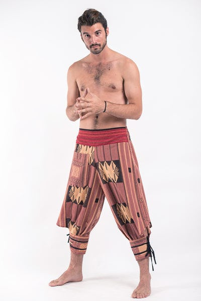 Thai Hill Tribe Fabric Men Harem Pants with Ankle Straps in Brick