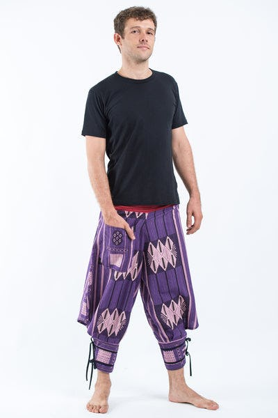 Thai Hill Tribe Fabric Men's Harem Pants with Ankle Straps in Purple