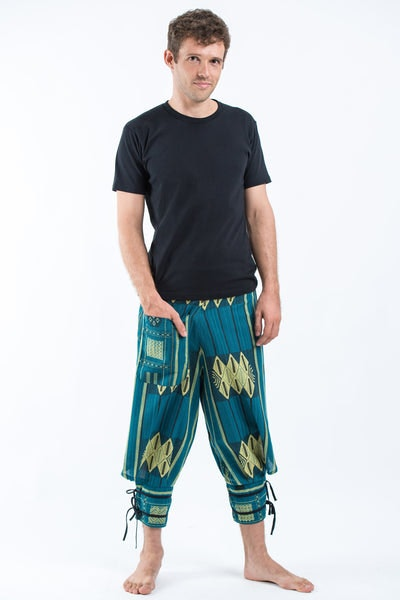 Thai Hill Tribe Fabric Men's Harem Pants with Ankle Straps in Turquoise