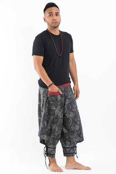 Paisley Thai Hill Tribe Fabric Men's High Cut Harem Pants with Ankle Straps