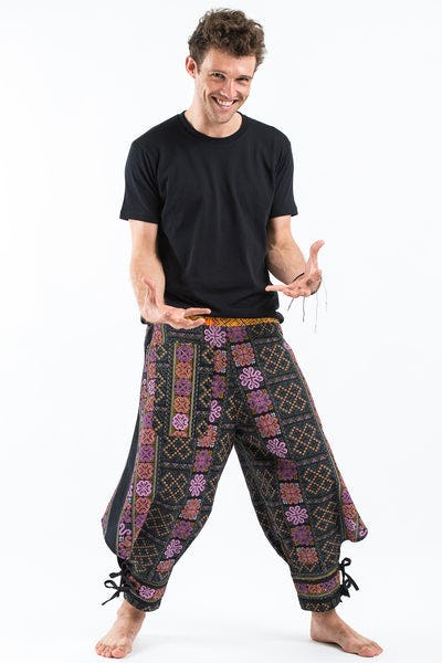 Clovers Thai Hill Tribe Fabric Men Harem Pants with Ankle Straps in Black Pink