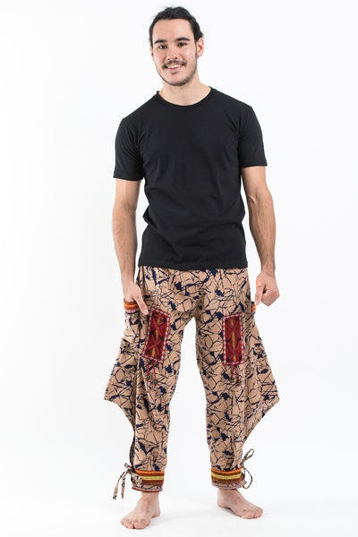 Shattered Pattern Thai Hill Tribe Fabric Men's Harem Pants with Ankle Cuffs