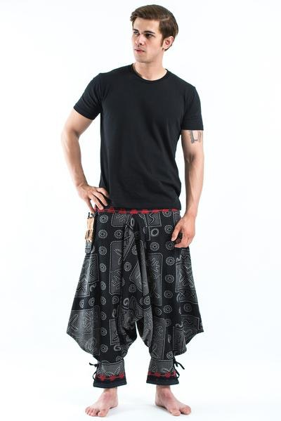 Black and Gray Thai Hill Tribe Fabric Men Harem Pants with Ankle Straps