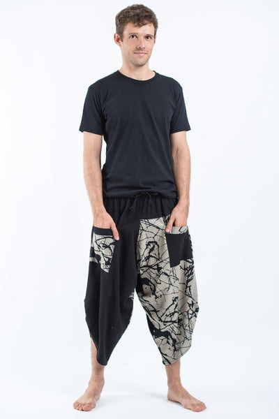 Two Tone Shatters Print Men's Three Quarter Pants in Black