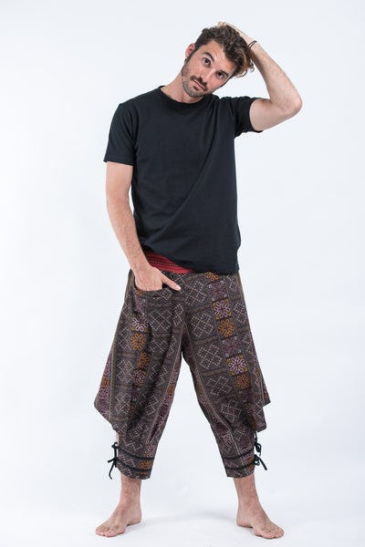 Clovers Thai Hill Tribe Fabric Men's Harem Pants with Ankle Straps in Brown