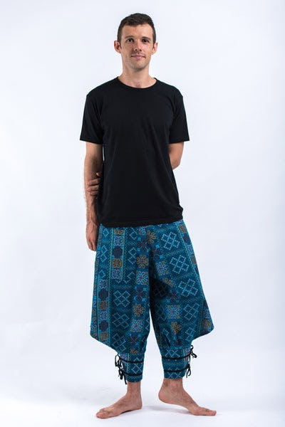Clovers Thai Hill Tribe Fabric Men's Harem Pants with Ankle Straps in Turquoise