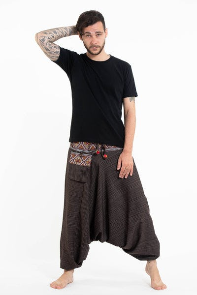 Pinstripe Cotton Low Cut Men's Harem Pants With Hill Tribe Trim Brown