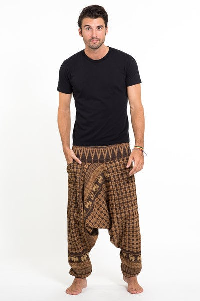 Hill Tribe Elephant Men's Elephant Pants in Brown