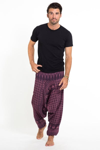 Hill Tribe Elephant Men's Elephant Pants in Purple