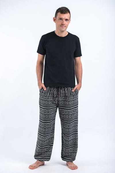 Drawstring Hill Tribe Men's Harem Pants In Black White