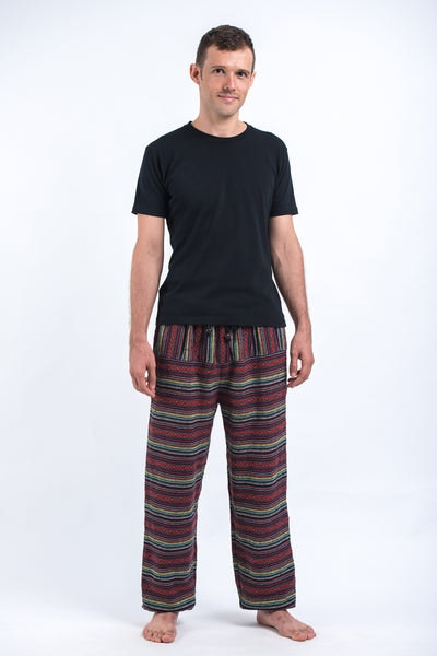 Drawstring Hill Tribe Men's Harem Pants In Red Rainbow
