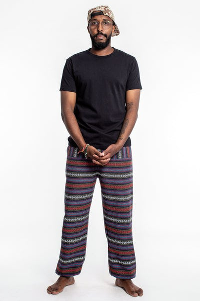 Drawstring Hill Tribe Men's Harem Pants In Blue Red