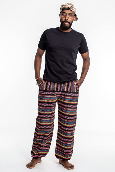 Drawstring Hill Tribe Men's Harem Pants In Pink Black