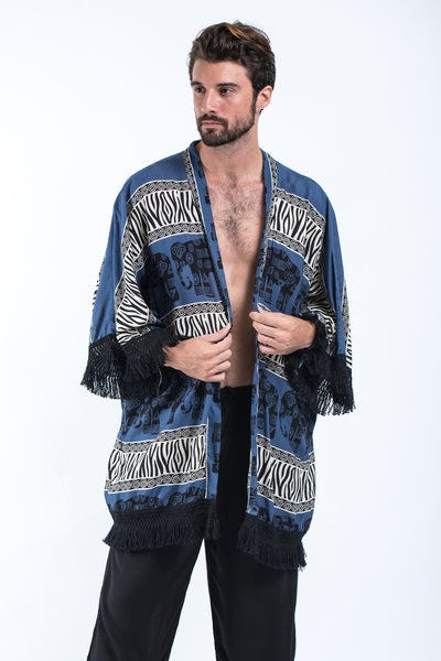 Safari Elephants Kimono Cardigan in Blue
