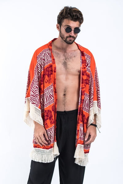 Safari Elephants Kimono Cardigan in Orange