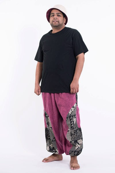 Plus Size Stone Washed Patchwork Men Pants in Pink