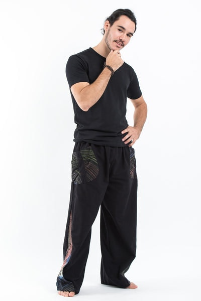 Thai Cotton Men's Pants With Hill Tribe Trim in Black