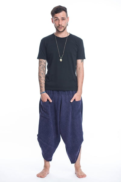 Stone Washed Large Pockets Men's Harem Pants in Blue