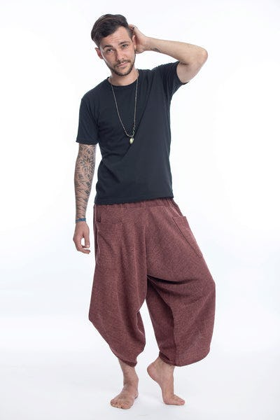 Stone Washed Large Pockets Men's Harem Pants in Maroon