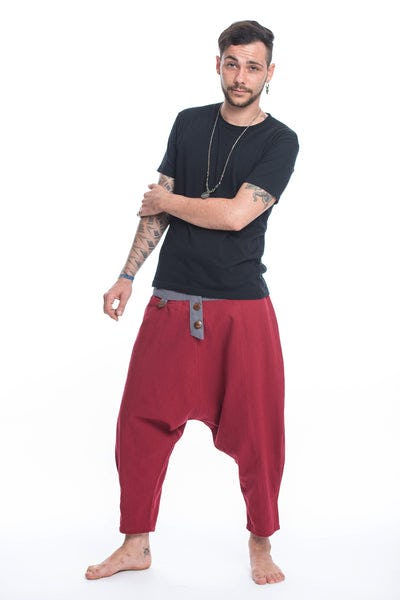 Cotton Men's Harem Pants with Faux Buttons in Red