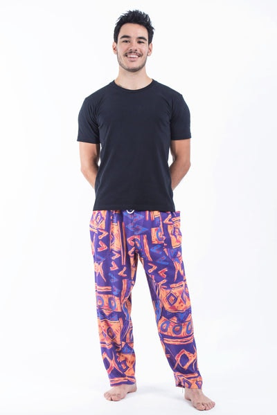 Patchwork Men's Drawstring Pants in Violet