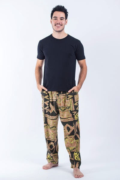 Patchwork Men's Drawstring Pants in Beige