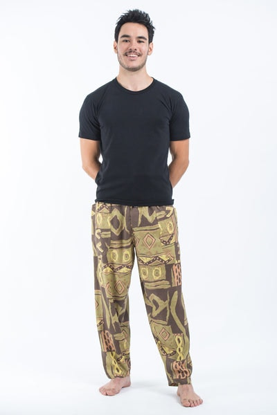 Patchwork Men's Drawstring Pants in Brown