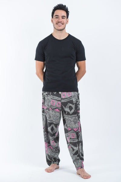 Patchwork Men's Drawstring Pants in Gray