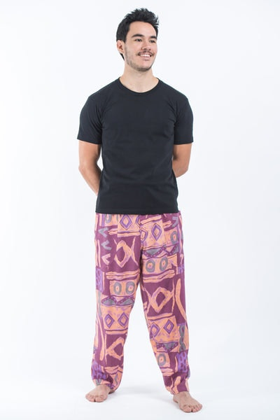 Patchwork Men's Drawstring Pants in Purple