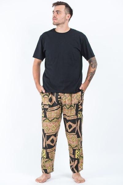 Plus Size Patchwork Men's Drawstring Pants in Beige