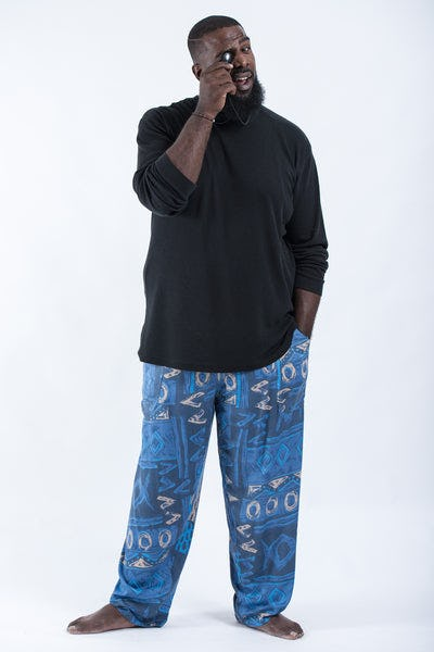 Plus Size Patchwork Men's Drawstring Pants in Blue