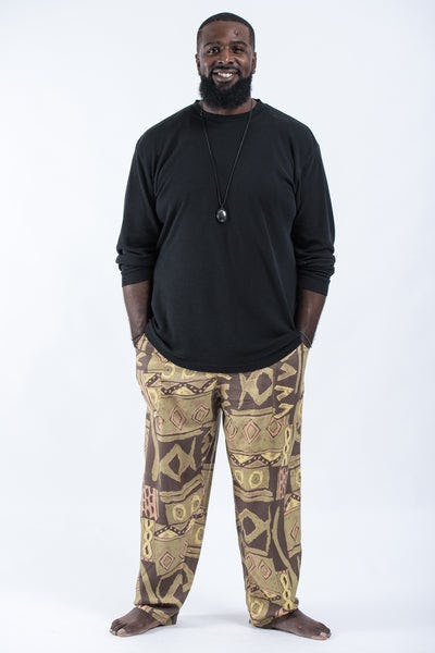 Plus Size Patchwork Men's Drawstring Pants in Brown