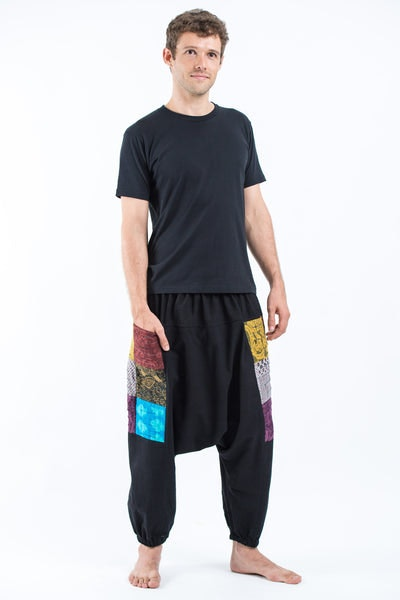 Ripped Patchwork Cotton Men's Harem Pants In Black