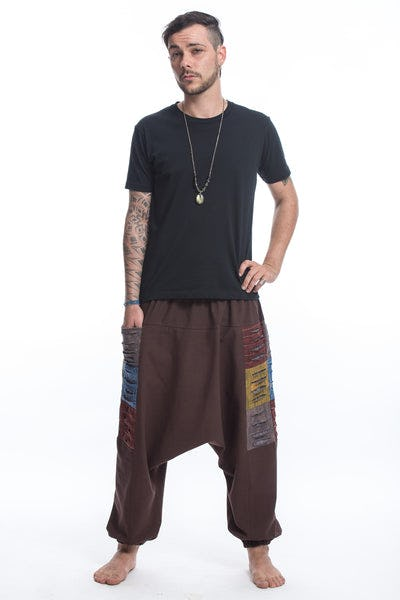 Ripped Patchwork Cotton Men's Harem Pants In Brown
