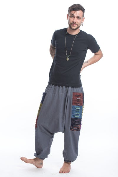 Ripped Patchwork Cotton Men's Harem Pants In Gray