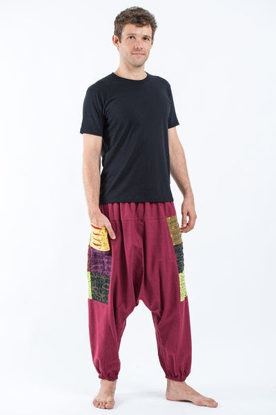 Ripped Patchwork Cotton Men's Harem Pants In Maroon