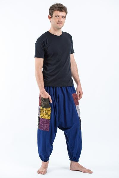 Ripped Patchwork Cotton Men's Harem Pants In Navy