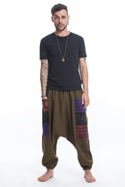 Ripped Patchwork Cotton Men's Harem Pants In Olive