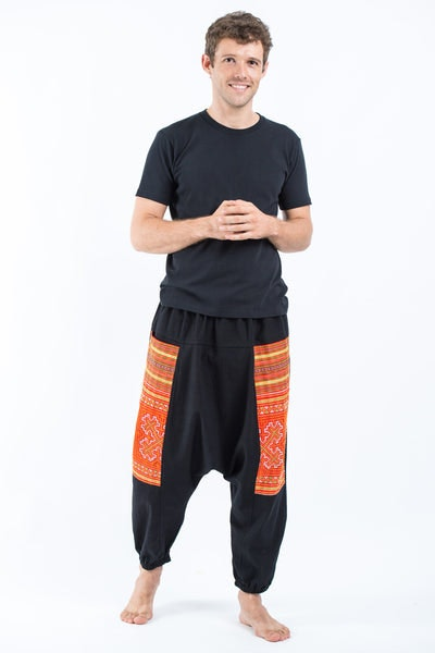 Hill Tribe Embroidered Cotton Men's Harem Pants In Black