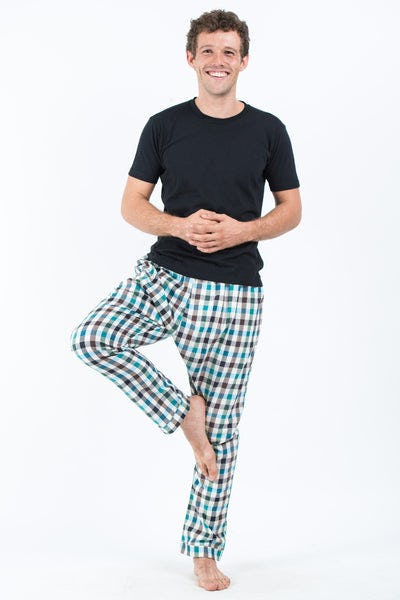 Thai Plaid Men's Harem Pants in Black Turquoise