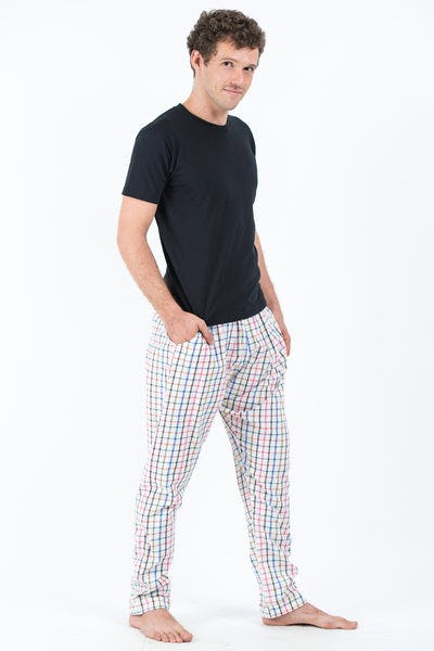 Thai Plaid Men's Harem Pants in Blue Pink