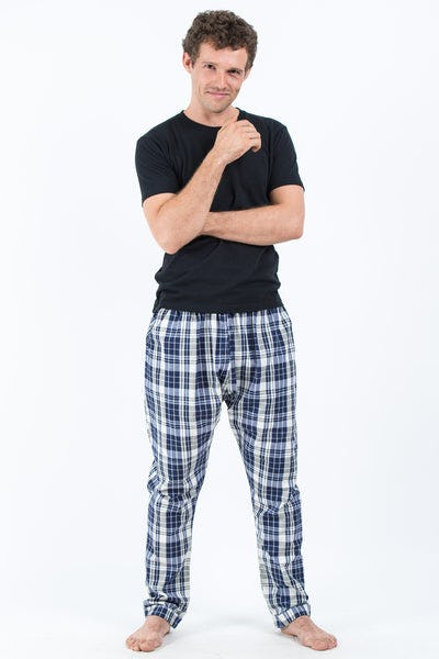 Thai Plaid Men's Harem Pants in Gray Navy
