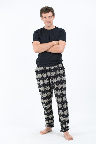 Elephants Men's Slim Cut Harem Pants in Black