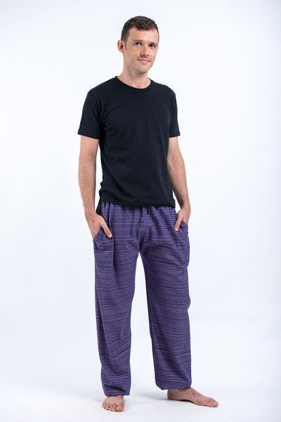 Drawstring Pinstripe Men's Pants in Violet