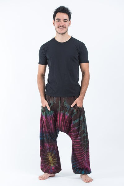 Tie Dye Cotton Men Harem Pants in Maroon Brown