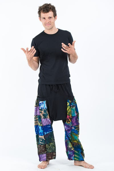 Tie Dye Cotton Men Harem Pants in Patchwork Black