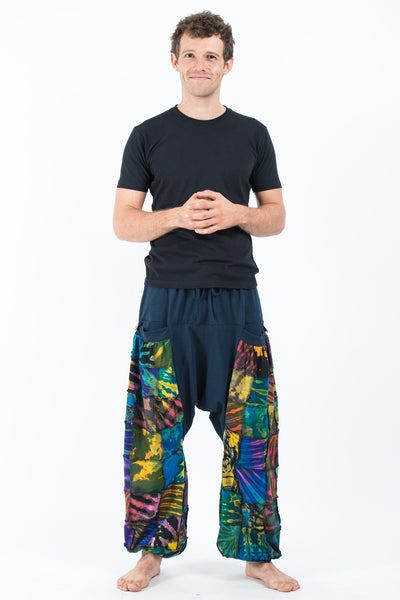 Tie Dye Cotton Men Harem Pants in Patchwork Blue