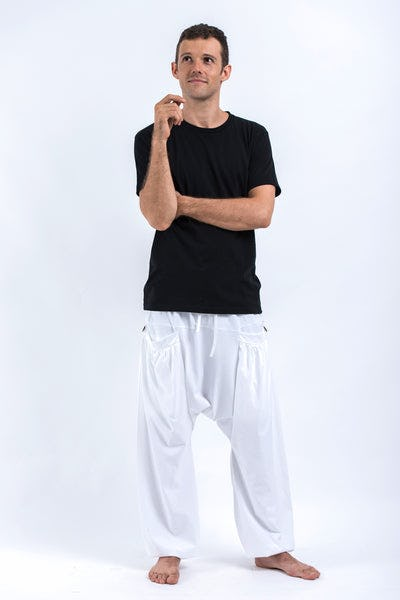 Cotton Men Harem Pants in Solid White