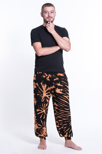 Tie Dye Cotton Men Harem Pants in Black Orange